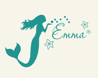 Kids mermaid decor Monogram Wall Decal personalized coastal sign lettering, Island style, Island decor, Tropical decorations, Wall Sticker