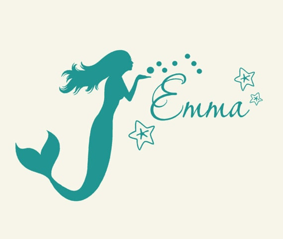 kids mermaid decor monogram wall decal personalized coastal - Mermaid Pictures For Kids