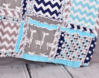 Giraffe Crib Bedding - Navy / Turquoise / Gray Bedding Crib Set - Safari Nursery Jungle Crib Bedding - Quilt / Sheet / Skirt / Bumper Pad