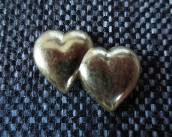 Set of 12 double hearts gold paste