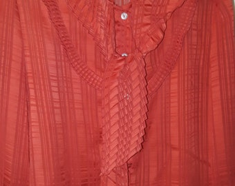 Sheer red vintage 80s new wave goth new romantic blouse size L