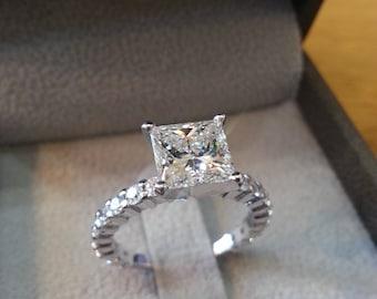2 1/2 Carat Diamond Princess Engagement Ring, Princess Diamond Ring