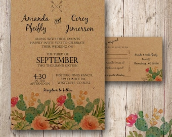 Custom personalized Cactus Wedding Invitation, Desert Wedding, Southwest Wedding Invitation, Succulent Wedding Invitation, outdoor wedding