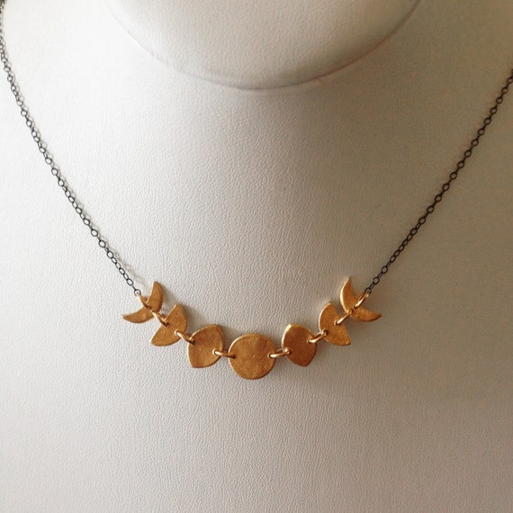Mini Moon Phase Necklace in Bronze and Sterling