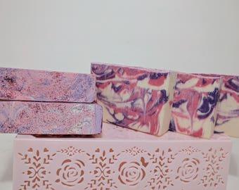 Black Raspberry Vanilla & Peppermint Handmade Artisan Soap; 3.5 oz+; 1in/2.5cm bar