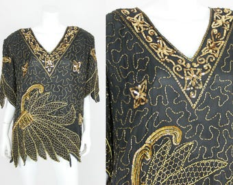 Vintage Sequin Blouse Plus Size 4X Black Gold Beaded Top Shirt Formal Holiday Gala Party Evening