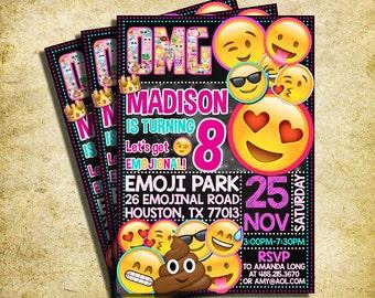 Emoji Invitation - Emoji Icons Chalkboard Birthday Party Invite - Printable And Digital File