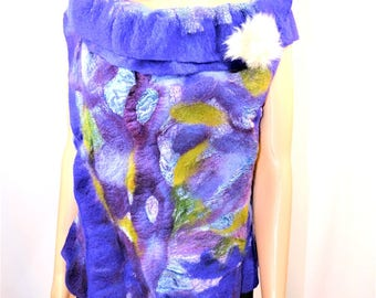 Nuno felted vest, Silk and wool vest, reversible vest for girls and women, Gift for women, Fiber art, Handmade garment
