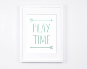 Play Time Nursery Art Printables, Mint and White Playroom Decor Instant Download, Arrows Art, Gender Neutral, Mint Nursery, Modern Playroom