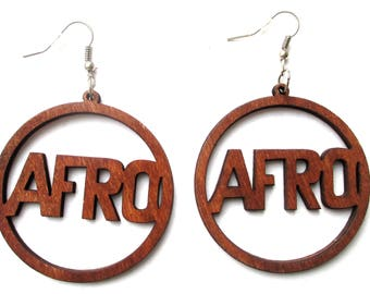 Brown Wood Afro Dangling Earrings