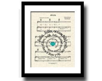 Julia Song Lyric Sheet Music Art Print, Spiral Song Lyrics, Custom Art, Custom Gift, Nursery Art, Art For Children, Music Wall Art
