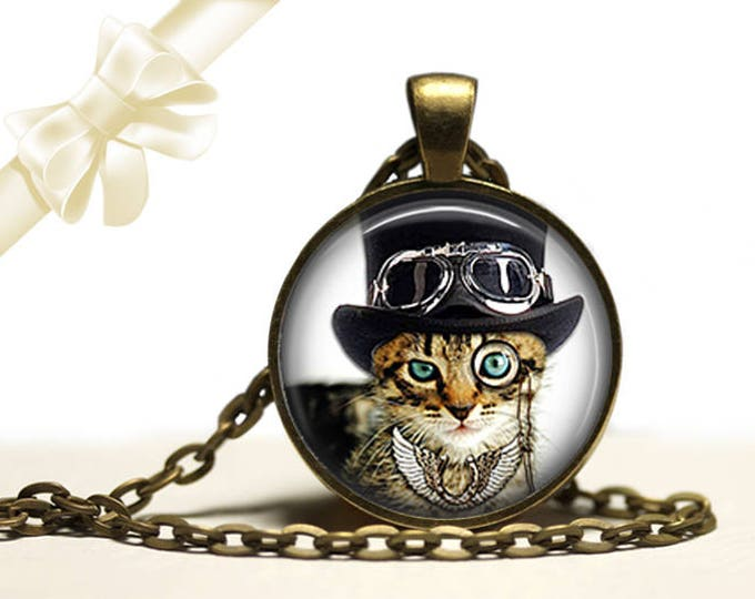 Dandy Cat steampunk brass Pendant Necklace Free Shipping Gifts for her