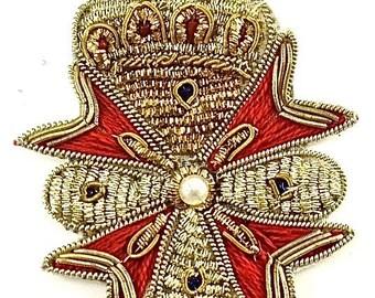 Sale!Crest Patch Appliqué with Gold Bullion Thread - 8912-1252