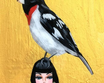 Grosbeak Bird Painting, Robin Painting, Barbie Doll, Bird Painting with Gold, One of a Kind Bird Painting