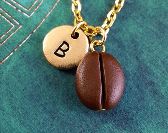 Coffee Bean Necklace VERY SMALL Gold Necklace, Personalized Necklace, Engraved Necklace, Coffee Necklace, Monogram Necklace, Gold Necklace