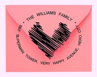 Sketch of Heart personalized rubber stamp Wood-Mounted or Self-Inking for return address wedding invitation shop logo