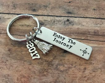 Custom Handstamped Graduation Keychain, Personalized Stamped Compass Keychain, Enjoy the Journey, Class of 2017, Gift for Grads