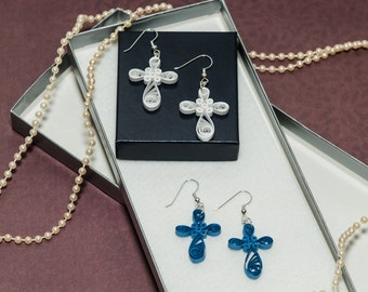 Cross Paper Quilled Earrings