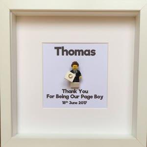 LEGO® Page Boy Gift Minifigure Frame, Ringbearer Gift, Personalised Gift for Page Boy, Gift for Him