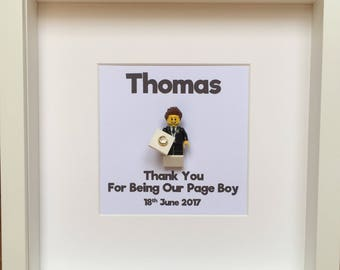 LEGO® Page Boy Gift Minifigure Frame, Ringbearer Gift, Personalised Gift for Page Boy, Gift for Him