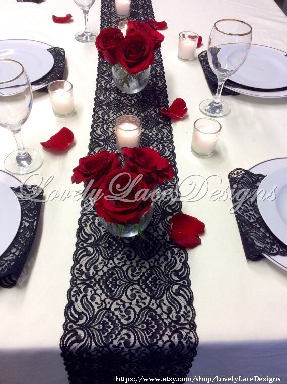 BLACK Lace Table Runner 3ft10ft x 65in Lace Table OverlayTable