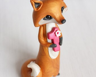 Fox Birthday Cake Topper - personalised polymer clay ornament by Heartmade Cottage