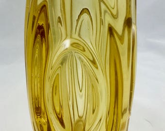 Heavy glass Yellow Bud vase
