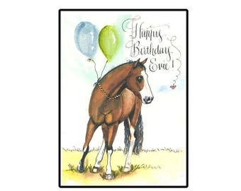 Horse birthday card etsy personalized horse birthday card personalised birthday horse card custom horse card bookmarktalkfo Images