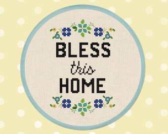 Bless This Home Cross Stitch Pattern. Flowery Quote Wreath Modern Simple Cute Counted Cross Stitch Pattern PDF Instant Download