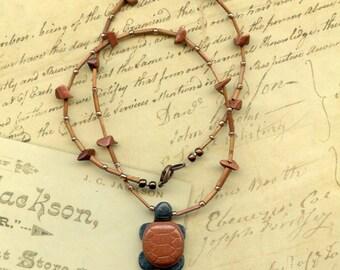 Grey and Orange (Goldstone) Stone Turtle Necklace