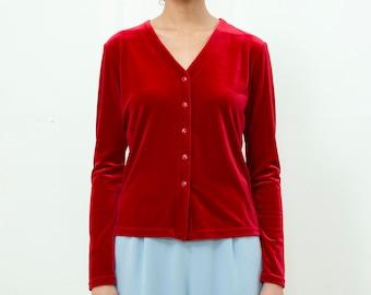 vintage red velvet shirt | cherry red stretch velvet blouse | bright red velvet button down v neck shirt | red top | medium | 1980s | 80s