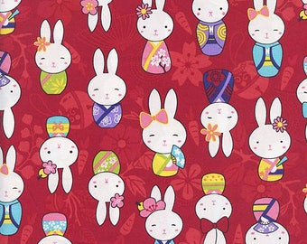 Cute Whimsical Bunnies in Kimonos: Red Asian Japanese Fabric  (By the Half Yd)