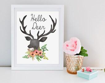 Hello Deer Printable Wall Decor Art Print Inspirational Quote Deer Antlers Chalkboard Watercolor Flowers Instant Download Digital File