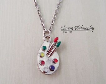 Artist's Palette Necklace - Silver Pewter and Epoxy Painter's Pallet Charm - Paint Brush and Paint Jewelry