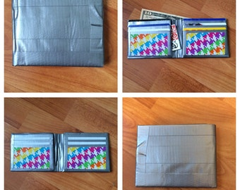 Silver and Rainbow Houndstooth Duct Tape Wallet