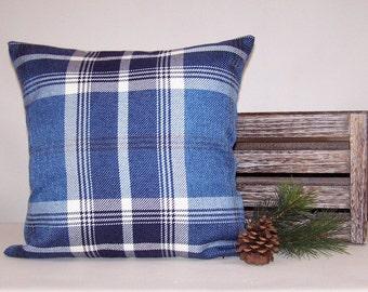 Blue Plaid Decorative Pillow Cover 18x18