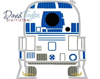Pop Star Wars R2D2 - 4x4, 5x7 and 6x10 in 9 formats - Applique - Instant Download - David Taylor Digitizing