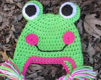 Baby Girl Frog Hat, Crochet Frog Hat, Newborn Frog Hat, Toddler Frog Hat, Child Frog Hat.Teen or Adult Frog Hat Photo Prop