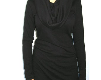 Cotton Jersey Tunic, Black Mini Dress