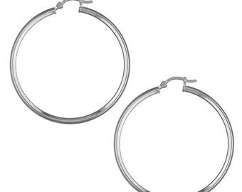 49mm Angled Tube Hinged Hoop Sterling Silver Earrings