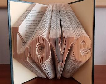 Love folded book art - wedding gift, anniversary gift, birthday gift, christmas gift, teacher gift, graduation gift, for him, for her