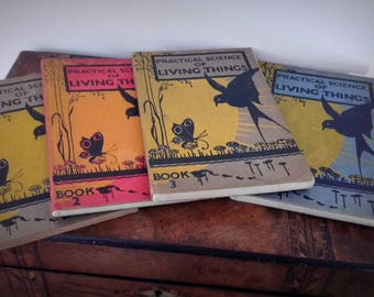 Vintage 1930's Practical Science of Living Things Books 1-4