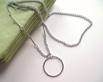Silver Chain Eyeglass Necklace, Eyeglass Lanyard, Chain Glasses Necklace, Hoop Eyeglass Holder, Eyeglass Chain, Chain Lanyard, Glasses Chain