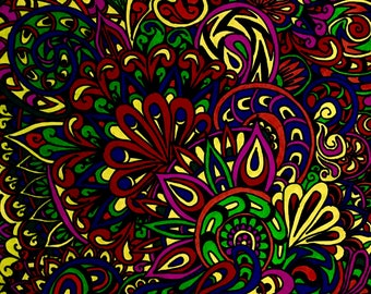 Psychedelic drawing, original, hand drawn