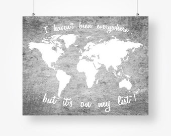 Grey world map etsy travel quote neutral gray wall art world map textured grey and white wall decor poster sign gumiabroncs Images
