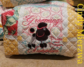 Poodle Puffy Quilted Bag Zipper Closure
