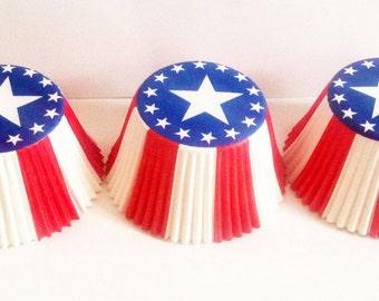 Stars & Stripes Muffin Cases - 48 USA Print Paper Cupcake Cases in a Pod - America, 4th July, Party