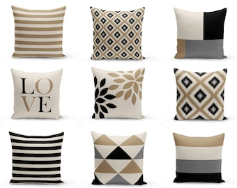 Neutral Throw Pillow Covers Taupe Beige Black Grey