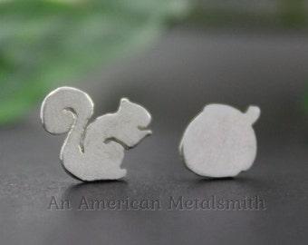 Sterling Silver Squirrel Earrings, Squirrel Jewelry, Mismatched Earrings, Animal Earring, Silver Stud Earring, Nature Jewelry, Squirrel Girl