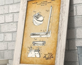 Toilet Seat Patent - 11x14 Unframed Patent Print - Great Bathroom Decor